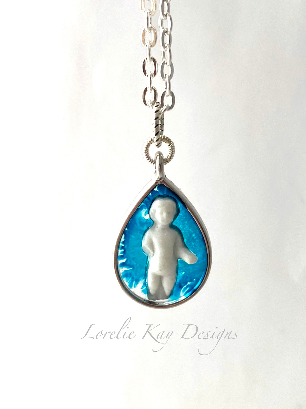 Tiny Frozen Charlotte Doll Necklace Silver Plate Cast Resin Pendant