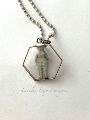 Frozen Charlotte Doll Necklace Silver Plate Cast Resin Pendant