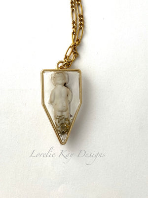 Frozen Charlotte Doll Pendant Cast Resin Gold Plate Pendant