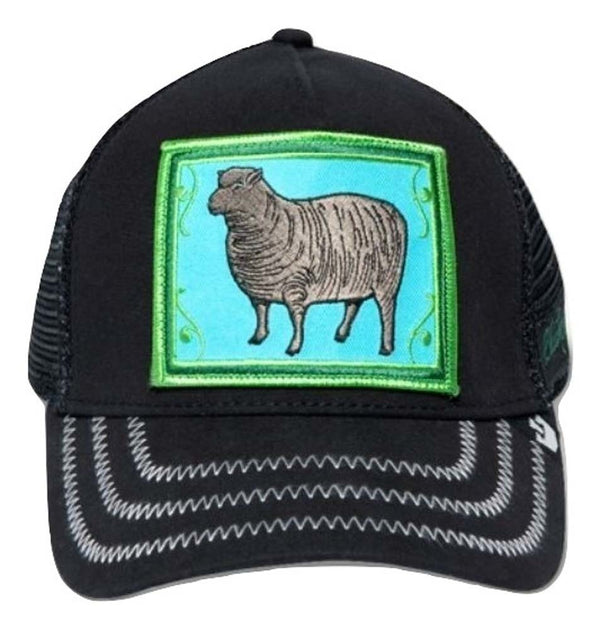 Goorin Bros Animal Farm Trucker Hat Black Sheep Front