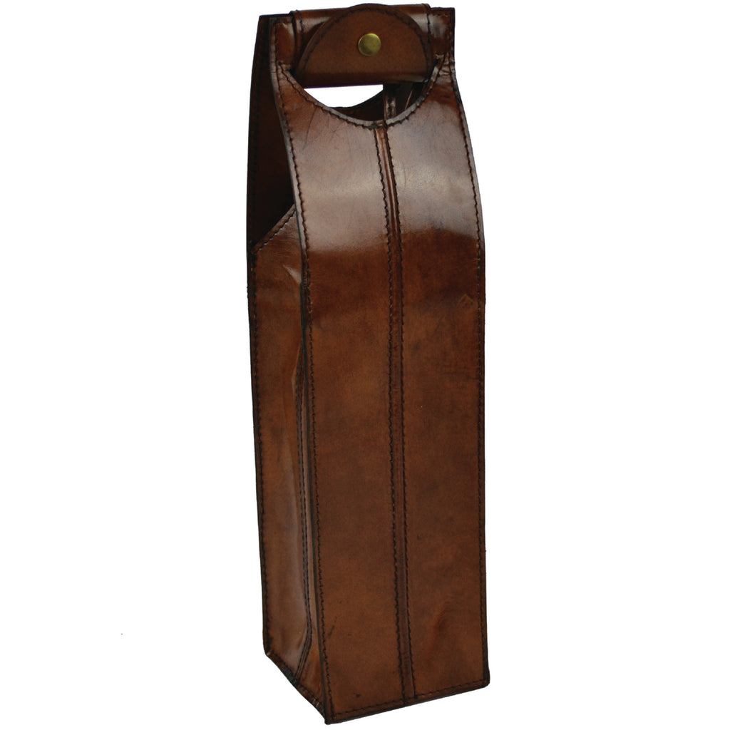 Leather Wine Carrier - Snap Handle
