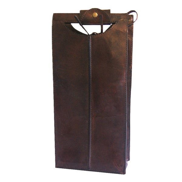 Leather Double Wine Carrier - Snap Handle