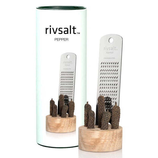 Rivsalt Pepper with Java long pepper, a stainless steel grater and stand