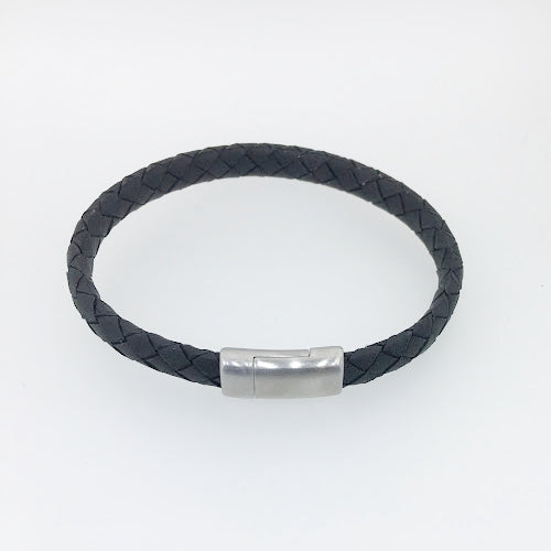 Thin Black Italian Leather Bracelet