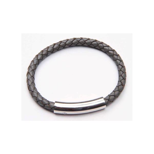 Grey Braided Leather Bracelet