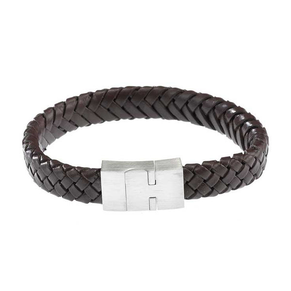 Brown Leather/ Steel Bracelet