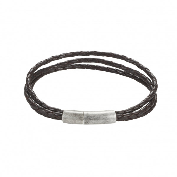 Brown Leather Triple Strand Bracelet