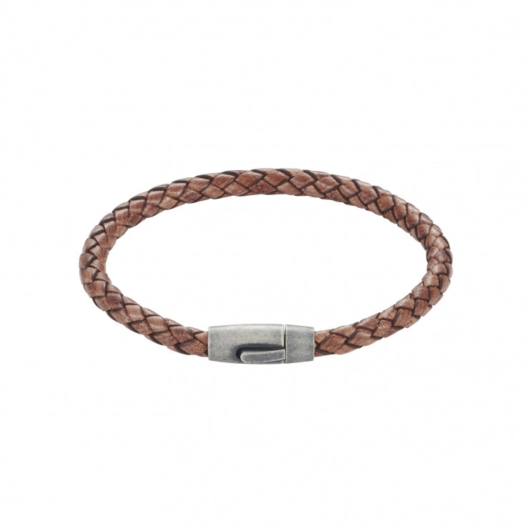 Brown Leather Plaited Bracelet