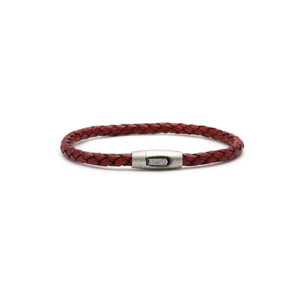Red Leather Plaited Bracelet