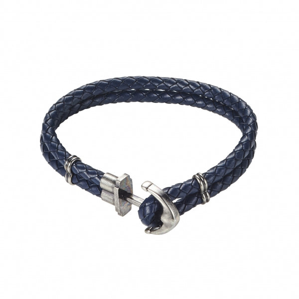 Blue Leather Anchor Bracelet