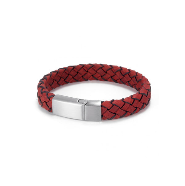 Braided Red Italian Leather Bracelet