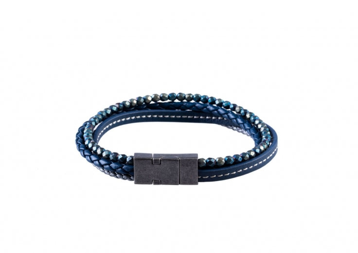 Multi-strand Blue Leather and Hematite Beads Bracelet