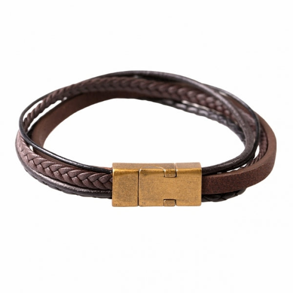 Multi-strand Black and Brown Leather Bracelet