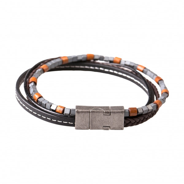 Multi-strand Brown Leather and Cubed Hematite Beads Bracelet