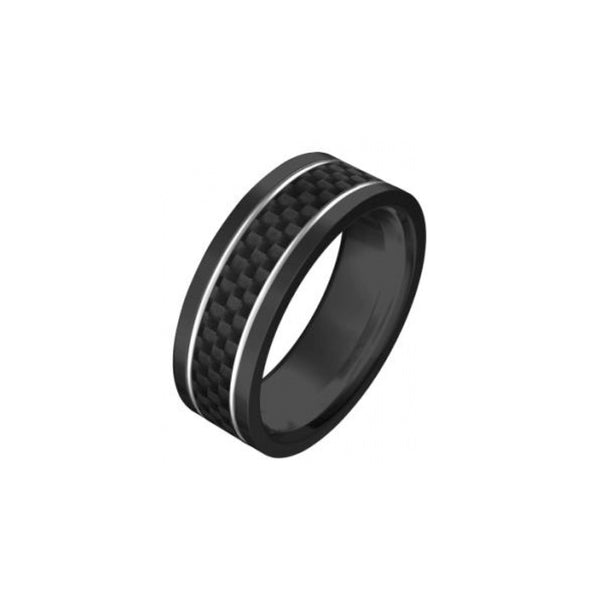 Black Stainless Carbon Fibre Inlay Ring