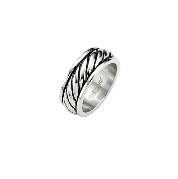 Stainless Antique Black Rope Pattern Ring