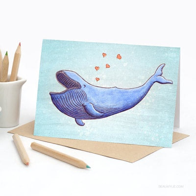 Trevor the Joyful Whale - Greeting Card