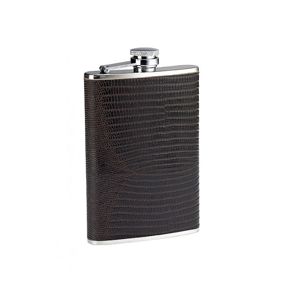 Hip Flask Brown Lizard Print