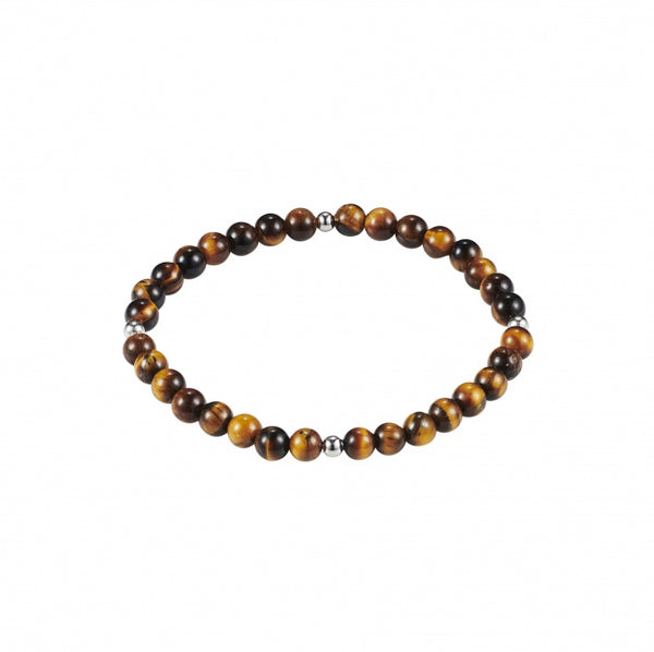 Tiger Eye and Stainless Steel Beaded Bracelet
