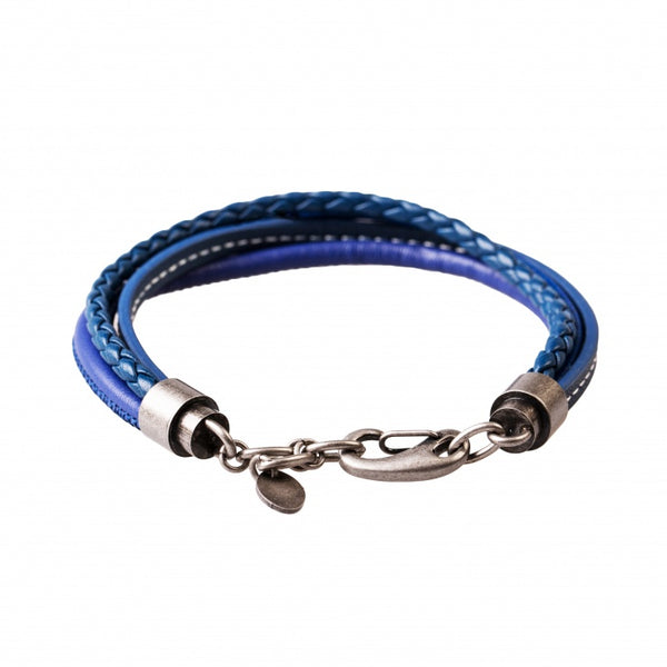 Multi-strand Blue Leather Bracelet