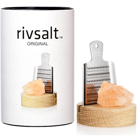 Rivsalt Original Himalayan rock salt with stainless steel grater on stand