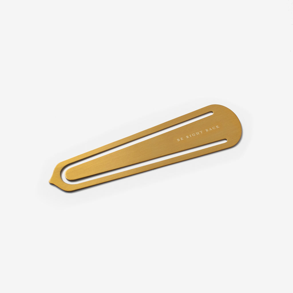 Brass Bookmark - Be Right Back
