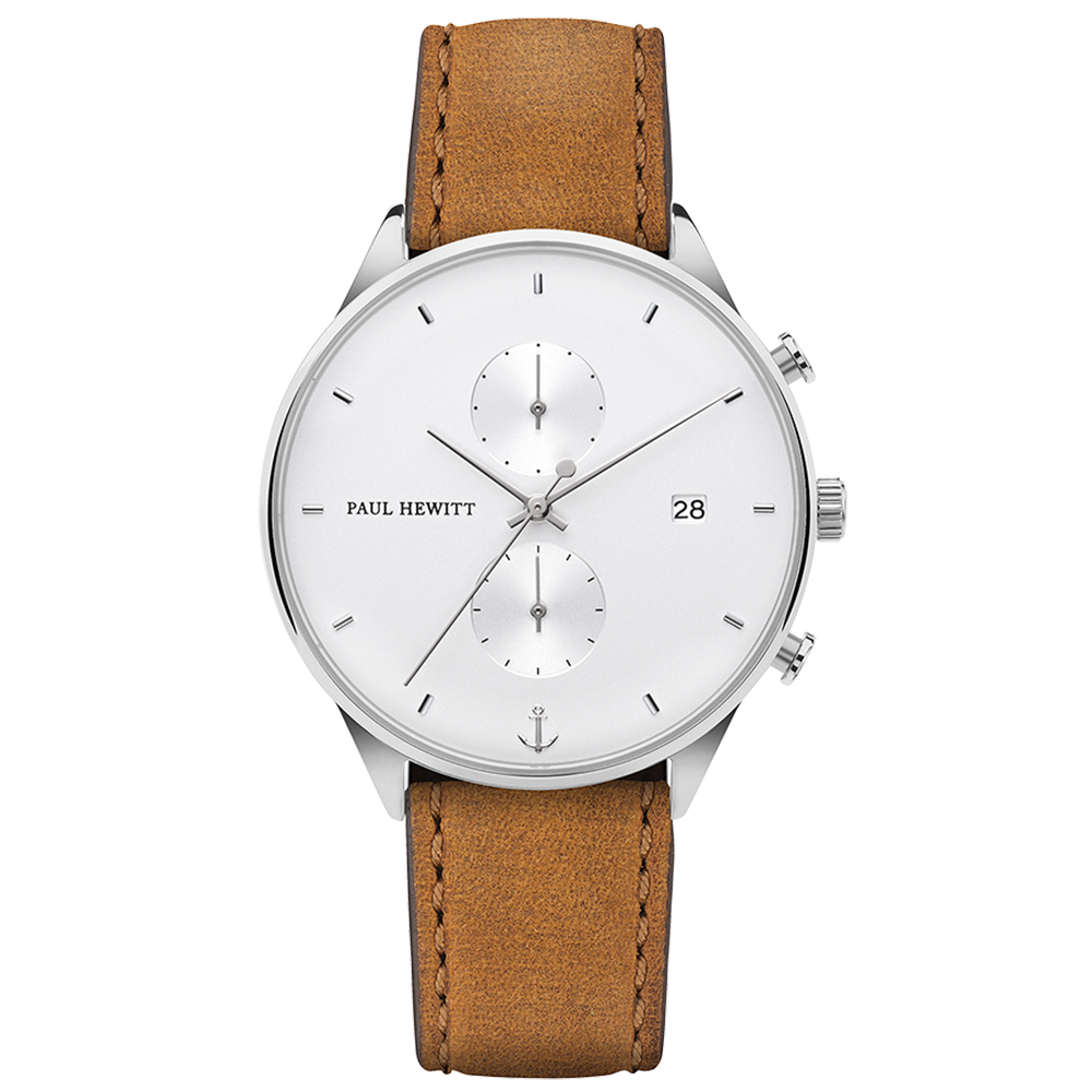 Paul Hewitt Chrono Line White Sand Watch with Mustard Leather Strap