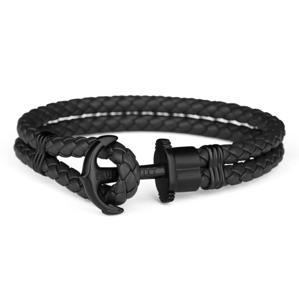 Paul Hewitt Black Anchor Bracelet PHREP Black Leather