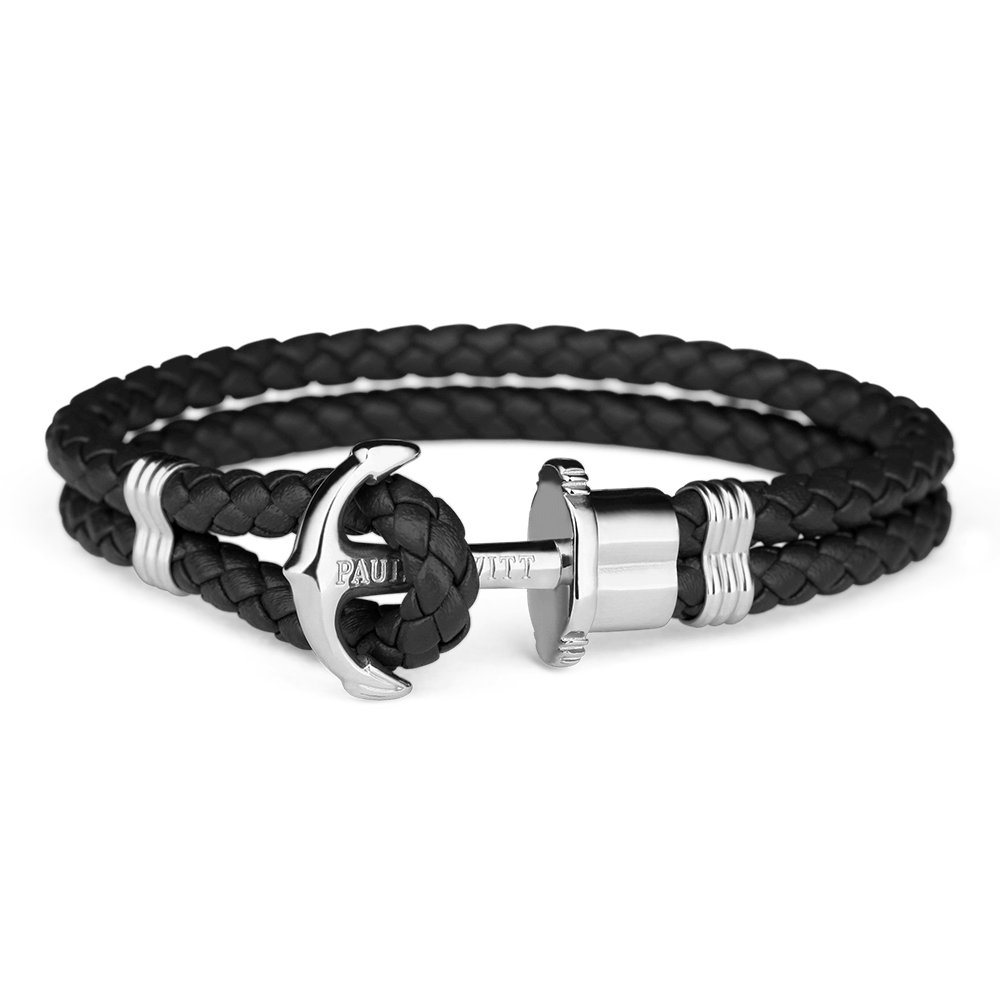 Paul Hewitt Silver Anchor Bracelet PHREP Black Leather
