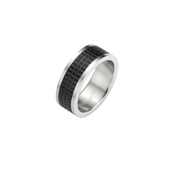 Brushed Steel Black Tyre Pattern Ring