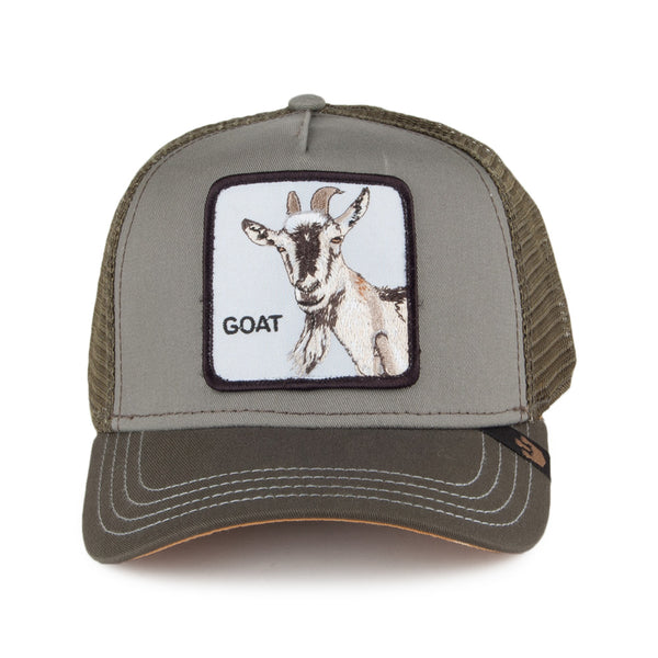 Goorin Bros Animal Farm Trucker Hat Olive Goat Beard Front