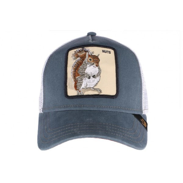 Goorin Bros Animal Farm Trucker Hat Blue Nuts Squirrel Front