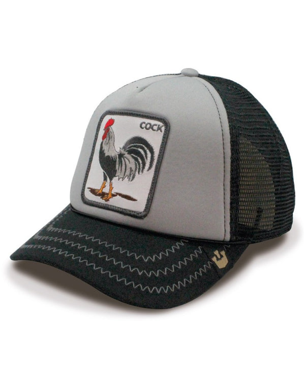 Goorin Bros Animal Farm Trucker Hat Grey Checkin Traps Rooster