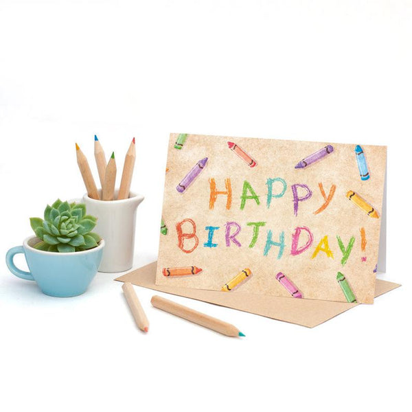 Birthday Crayons-Greeting Card