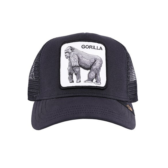 Goorin Bros Animal Farm Trucker Hat Black King of the Jungle Gorilla Front
