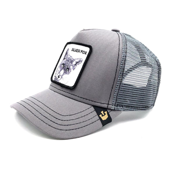 Goorin Bros Animal Farm Trucker Hat Grey Silver Fox
