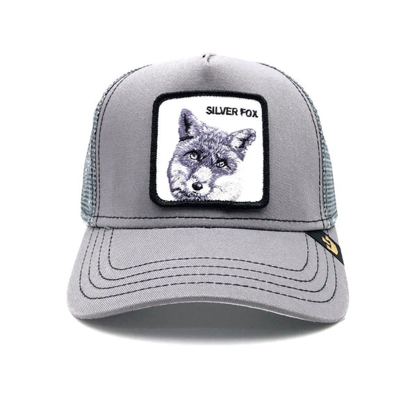 Goorin Bros Animal Farm Trucker Hat Grey Silver Fox Front