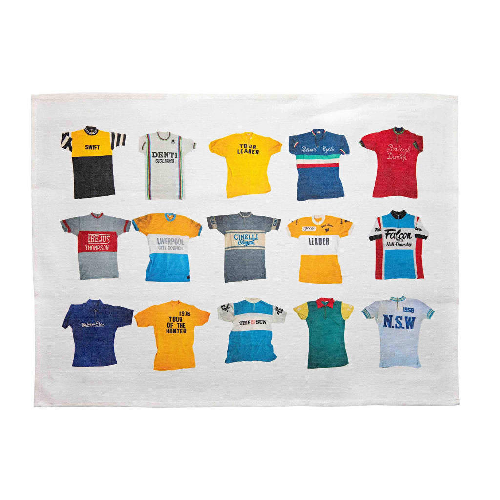 Vintage Cycling Jerseys Tea Towel