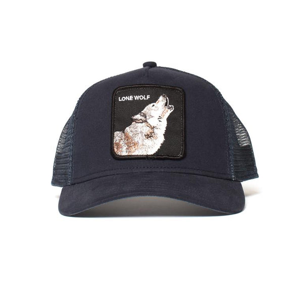 Goorin Bros Animal Farm Trucker Hat Navy Lone Wolf Front