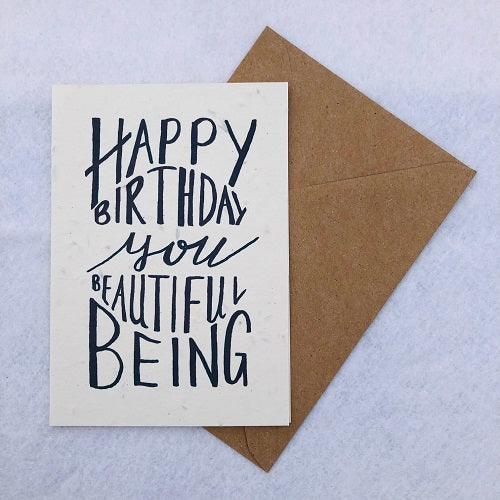 Happy Birthday You Beautiful Being - Plantable Wildflower Greetings Card - Loop Loop