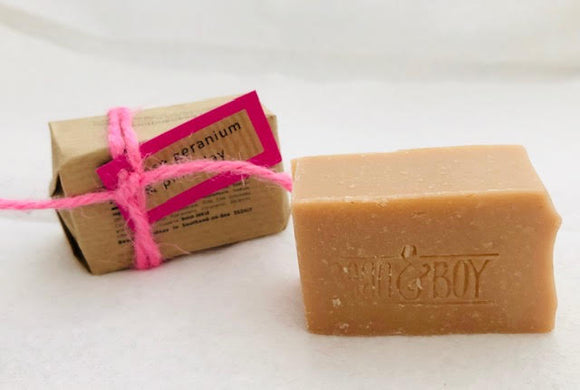 MINI Rose Geranium & Pink Clay Handmade Natural Soap - Bean & Boy