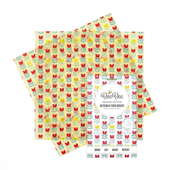 Tulip Print Beeswax Food Wraps - The Sandwich Collection Pack of 2 - BeeBee Wraps