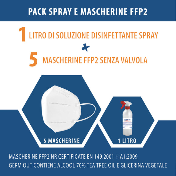 PACK Spray disinfettante e 5 Mascherine FFP2 KN95 | Dpi Sicurezza