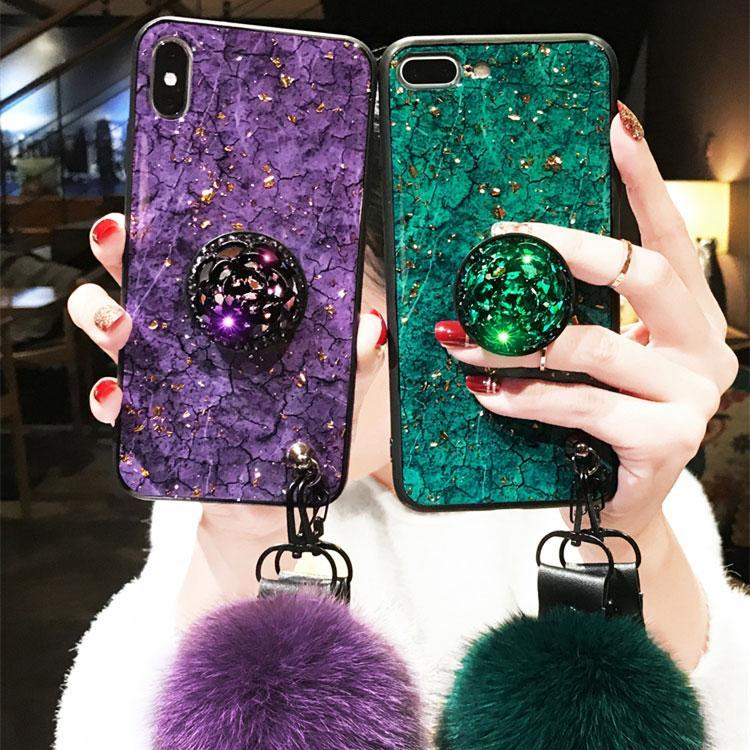 2019 [IPhone] Gold FoilFiber Soft Fur ball Diamond pop socket