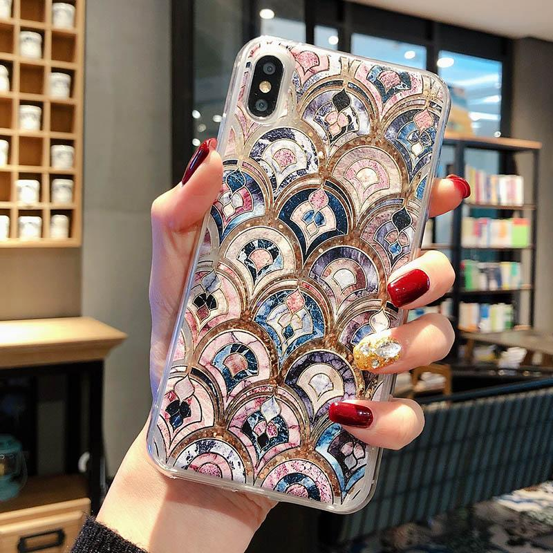 2019 LUXURY FASHION FISH-SCALE QUICKSAND PHONE CASE FOR IPHONE