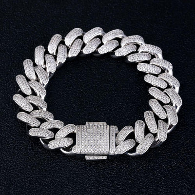 18mm Iced Cuban Link Bracelet in White Gold - jewelrychamps