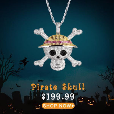 White Gold Iced Pirate Skull With Crossed Bones Pendant - jewelrychamps