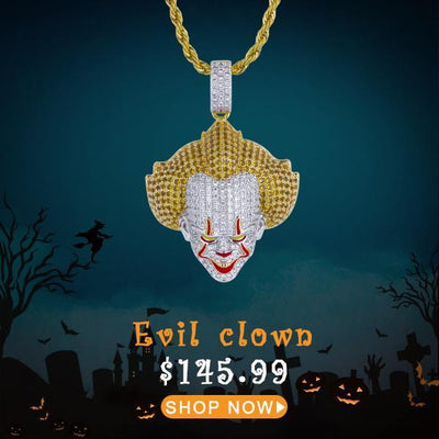 Iced Evil Clown Pendant - jewelrychamps