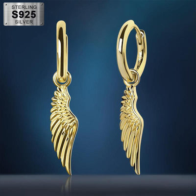925 Sterling Silver 14K Gold Plated Angel Wing Hinged Hoop Earrings - jewelrychamps