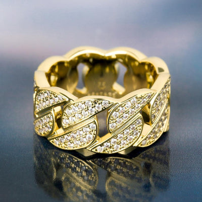 Iced Cuban Link Ring in 14K Gold - jewelrychamps
